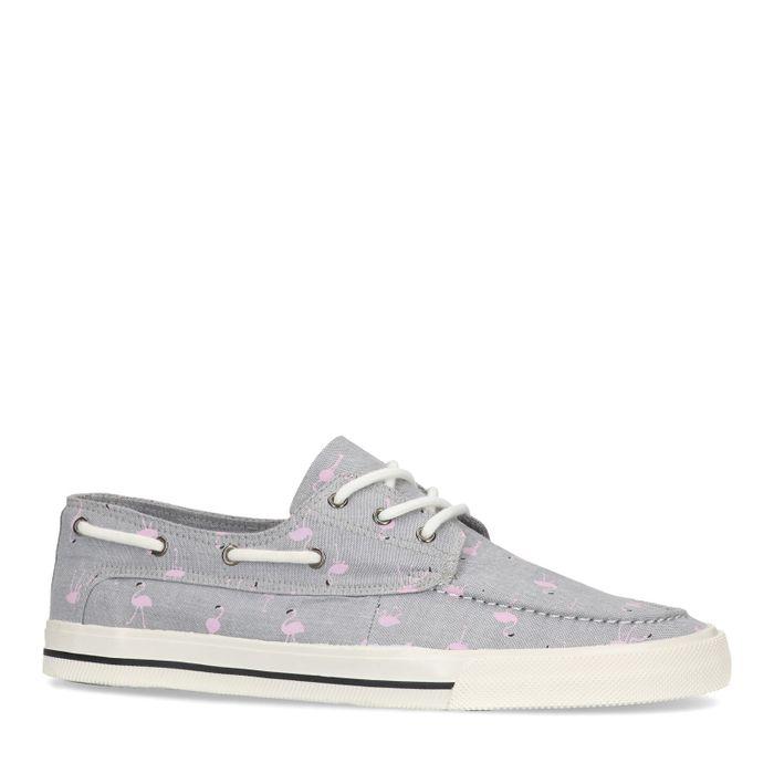 Graue Sneaker mit Flamingo-Aufdruck