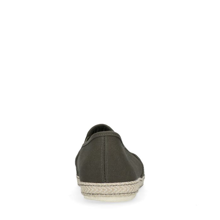 Dunkelgrüne Loafer mit Jutesohle