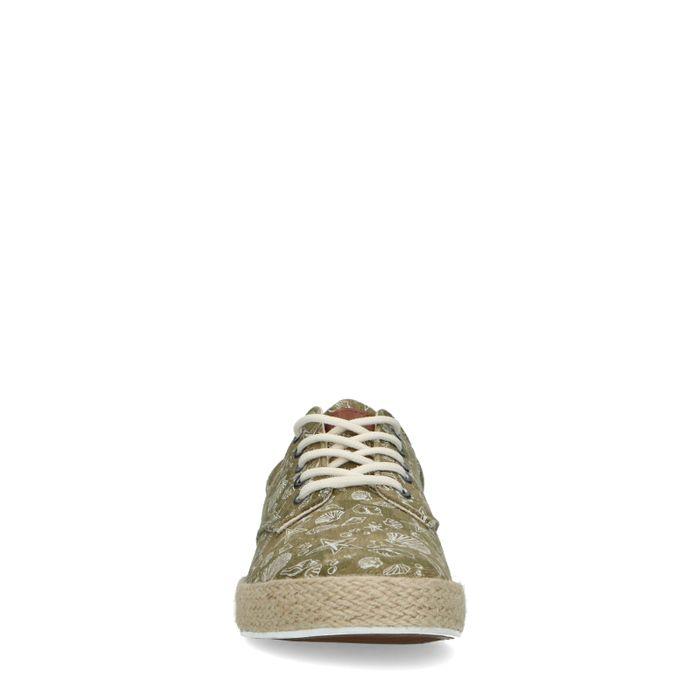 Kaki Canvas-Sneaker mit Print