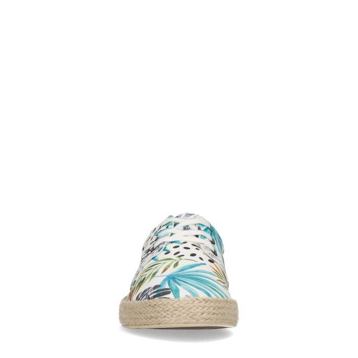 Weiße Leinen-Sneaker mit Dschungelmuster