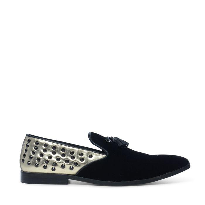 Schwarze Loafer mit Gold-Akzenten und Nieten