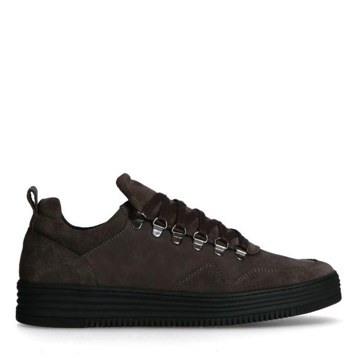 Anthrazitgraue Veloursleder-Sneaker