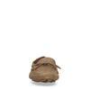 Beigefarbene Veloursleder-Slipper