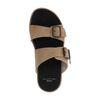 Beigefarbene Veloursleder-Sandalen mit Schnallen