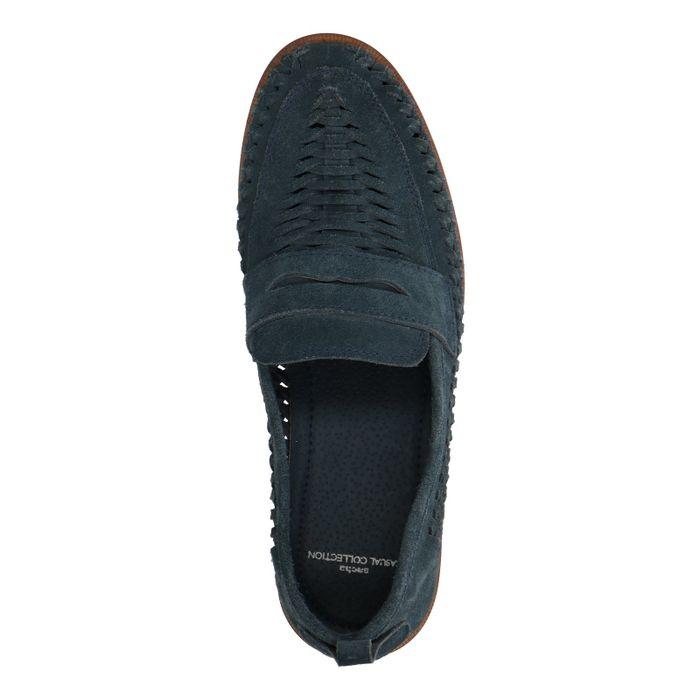 Blaue Veloursleder-Loafer mit Flecht-Details