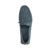 Blaue Veloursleder-Slipper