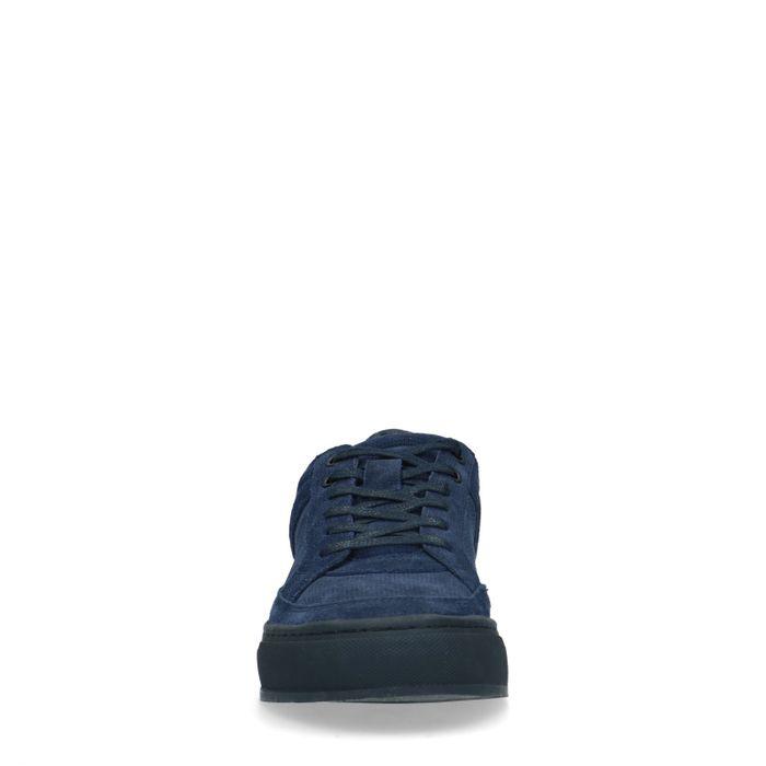 Blaue Veloursleder-Sneaker