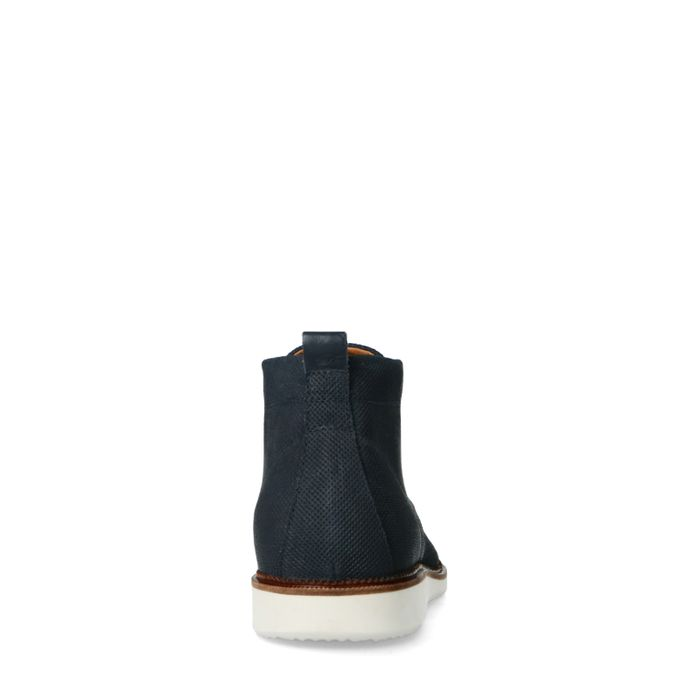 Blaue Veloursleder-Schnürschuhe