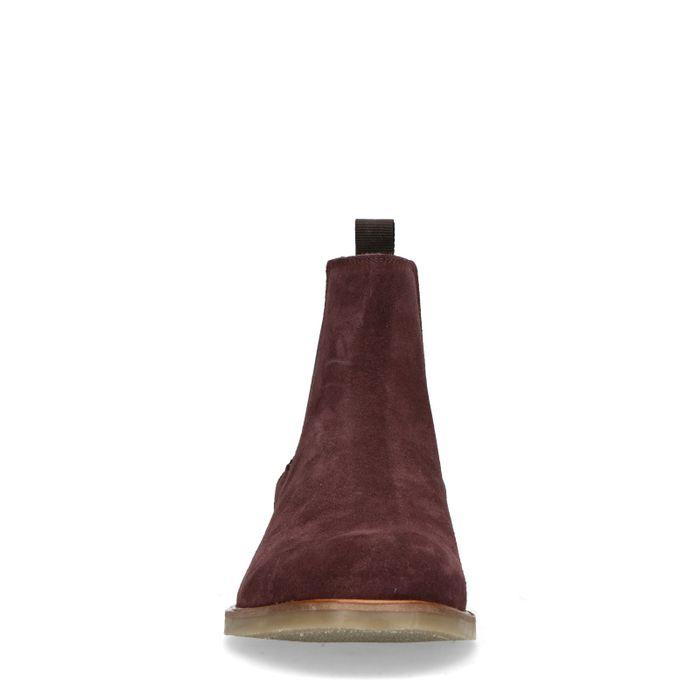 Bordeauxrote Chelsea Boots aus Veloursleder