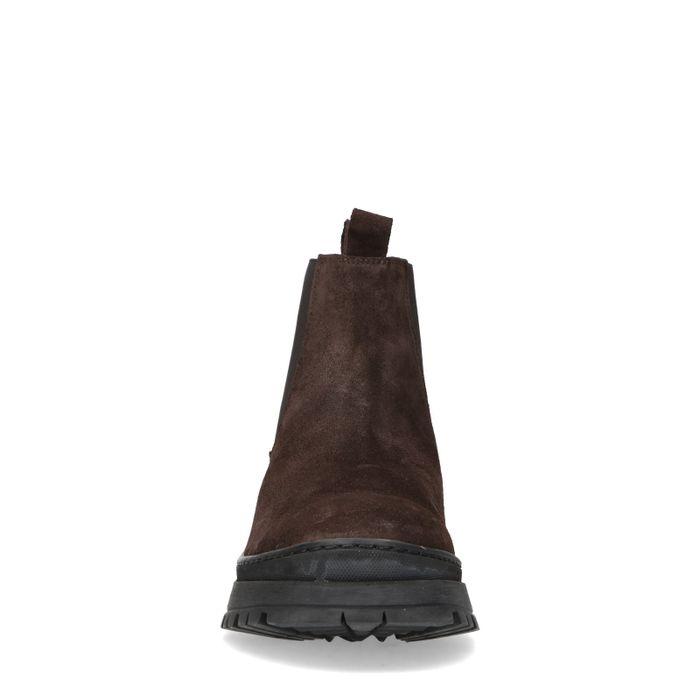 Dunkelbraune Chelsea Boots aus Veloursleder