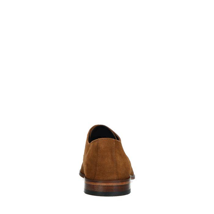 Kamelbraune Veloursleder-Schnürschuhe