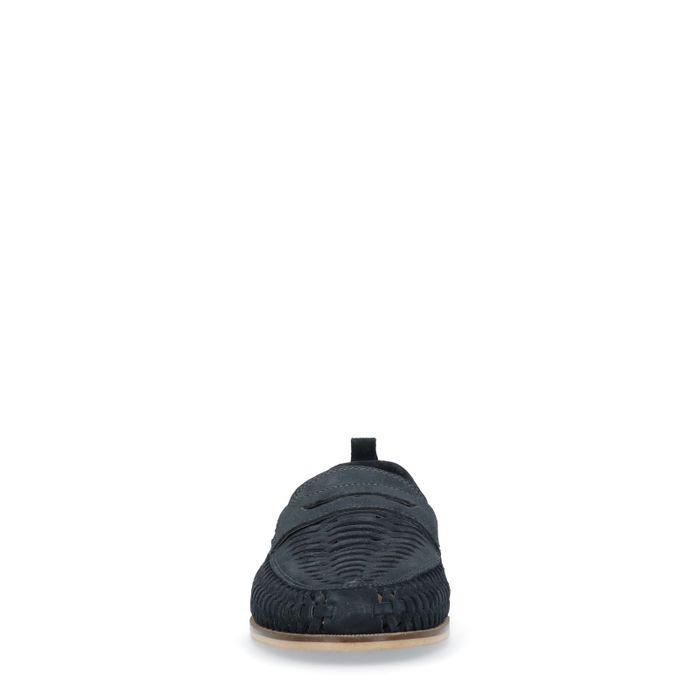 Dunkelblaue Loafer mit Flecht-Struktur