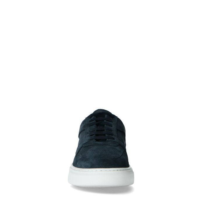 Dunkelblaue Veloursleder-Sneaker
