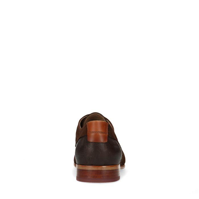 Dunkelbraune Veloursleder-Schnürschuhe mit Muster