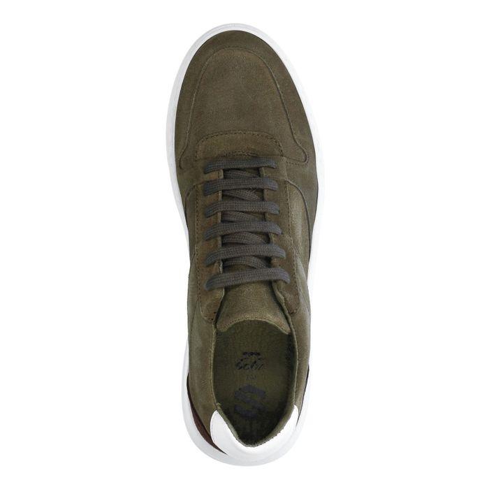 Dunkelgrüne Veloursleder-Sneaker mit Details