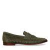 Grüne Veloursleder-Loafer mit Flecht-Details