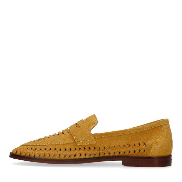 Ockergelbe Veloursleder-Loafer mit Flecht-Details