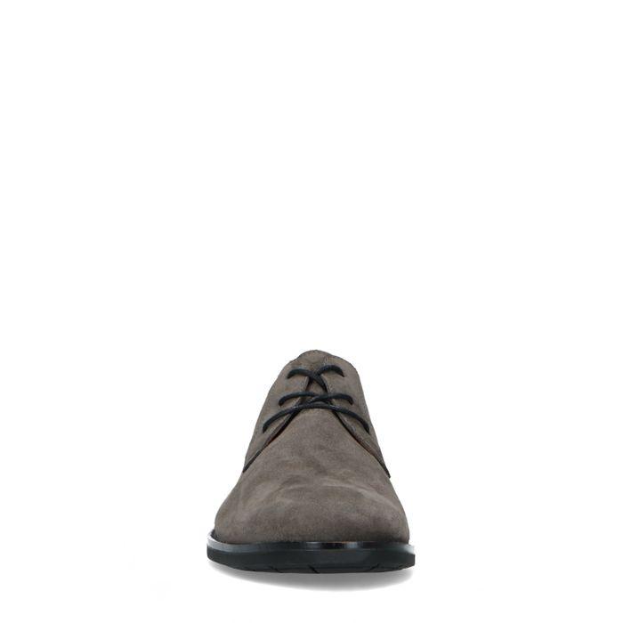 Graue Veloursleder-Schnürschuhe