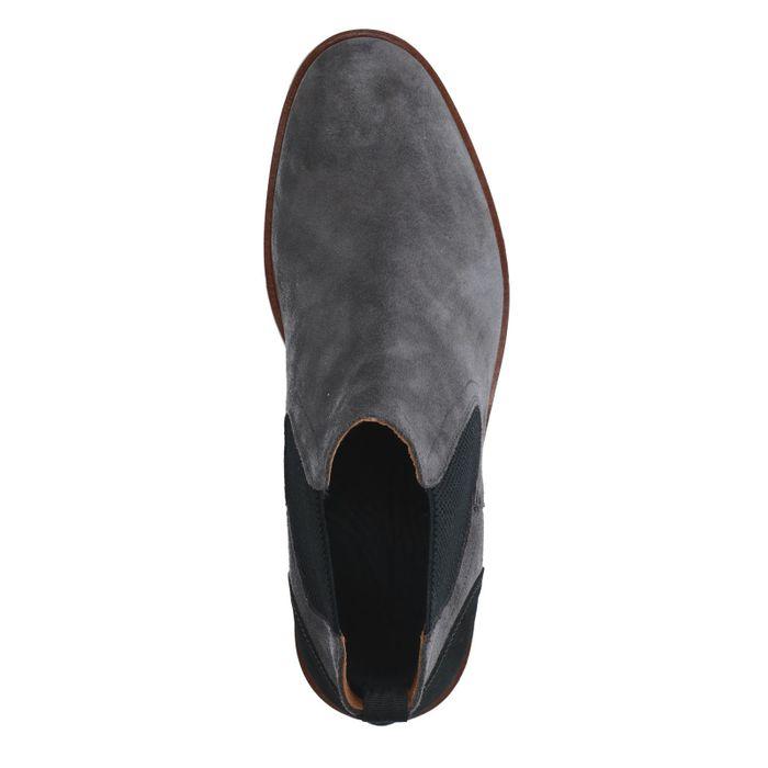 Graue Chelsea Boots aus Veloursleder