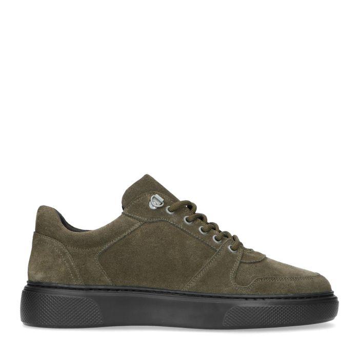 Dunkelgrüne Veloursleder-Sneaker