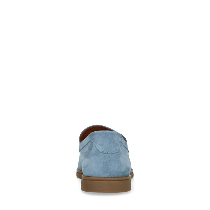 Hellblaue Veloursleder-Loafer