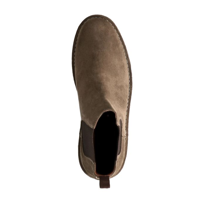Khakifarbene Chelsea Boots aus Veloursleder