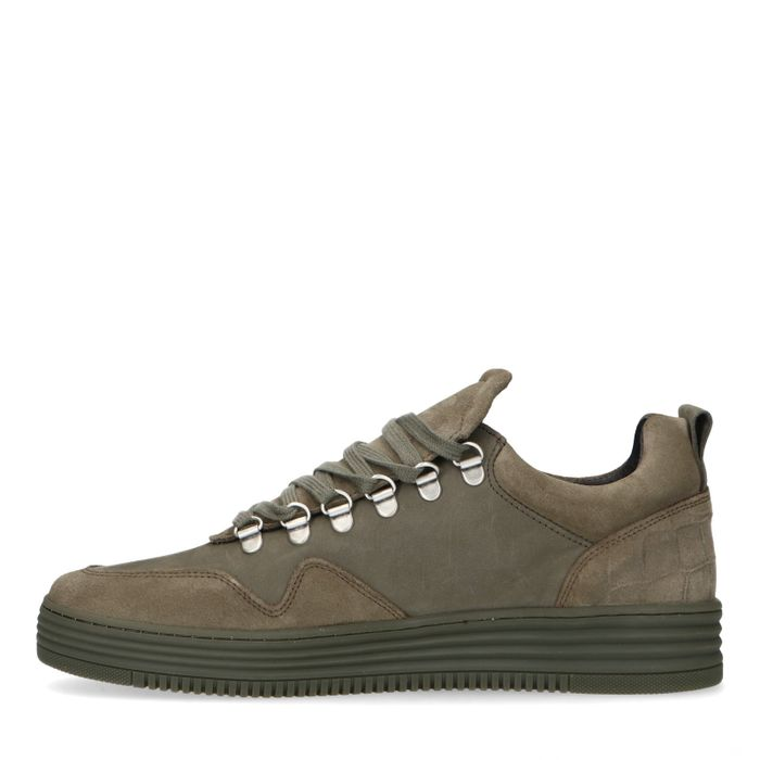 Kakigrüne Veloursleder-Sneaker