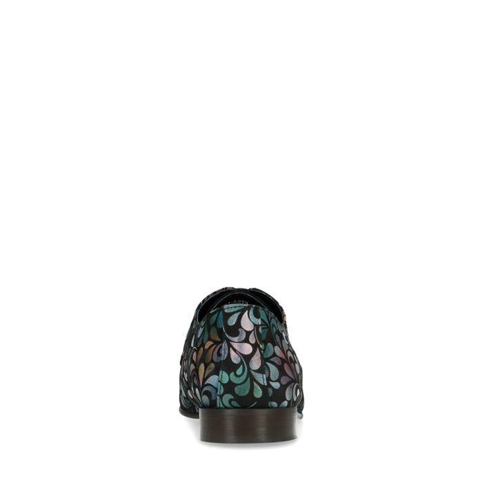 Veloursleder-Schnürschuhe mit Print