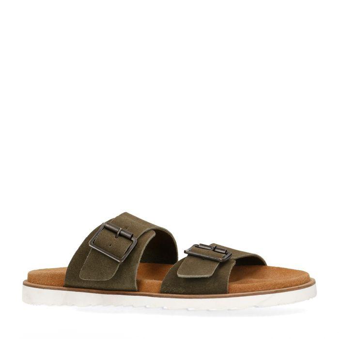 Grüne Veloursleder-Sandalen mit Schnallen