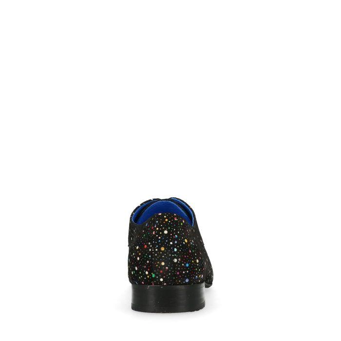 Schwarze Schnürschuhe mit bunten Punkten