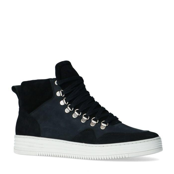 Schwarze Veloursleder-Sneaker mit hohem Schaft