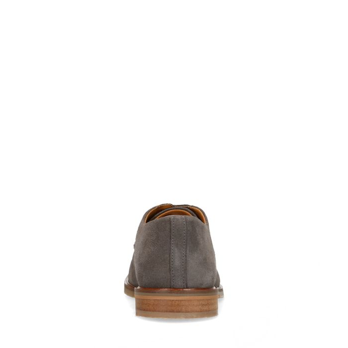 Taupefarbene Veloursleder-Schnürschuhe
