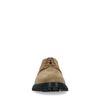 Taupefarbene Veloursleder-Schnürschuhe mit schwarzer Sohle