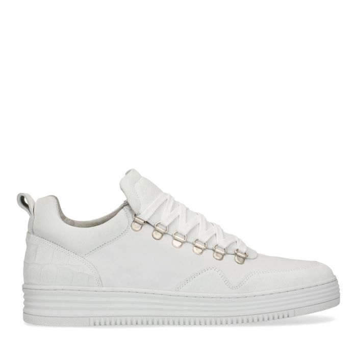 Weiße Veloursleder-Sneaker