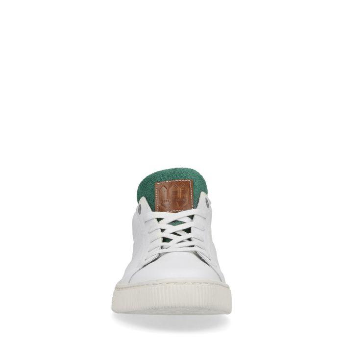 Baskets en cuir basses avec détail - blanc