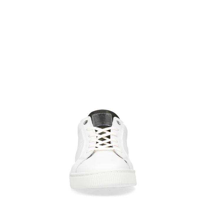 Baskets cuir avec détails - blanc