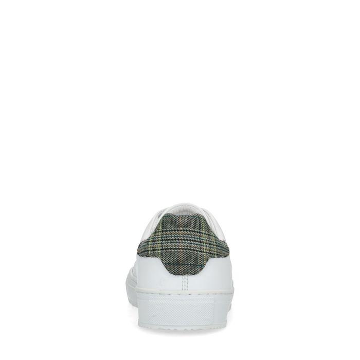Baskets en cuir avec détail motif à carreaux - blanc