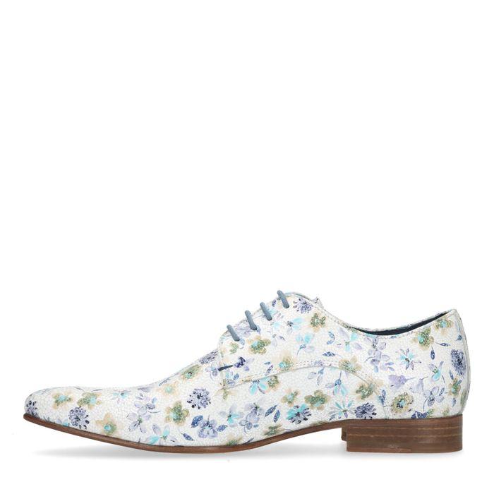Chaussures à lacets en cuir avec imprimé fleuri - blanc