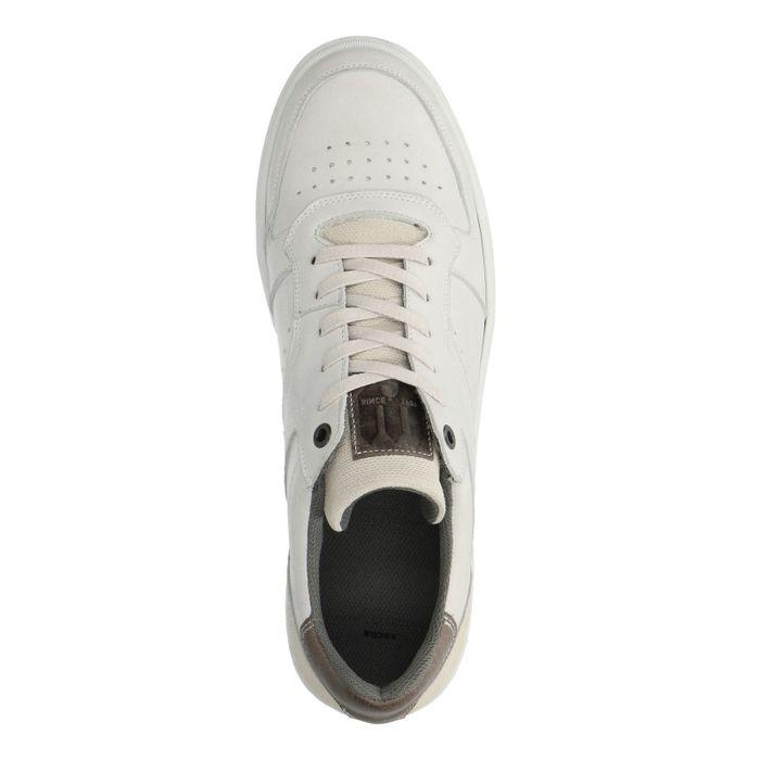 Baskets en cuir basses avec détail gris - blanc cassé
