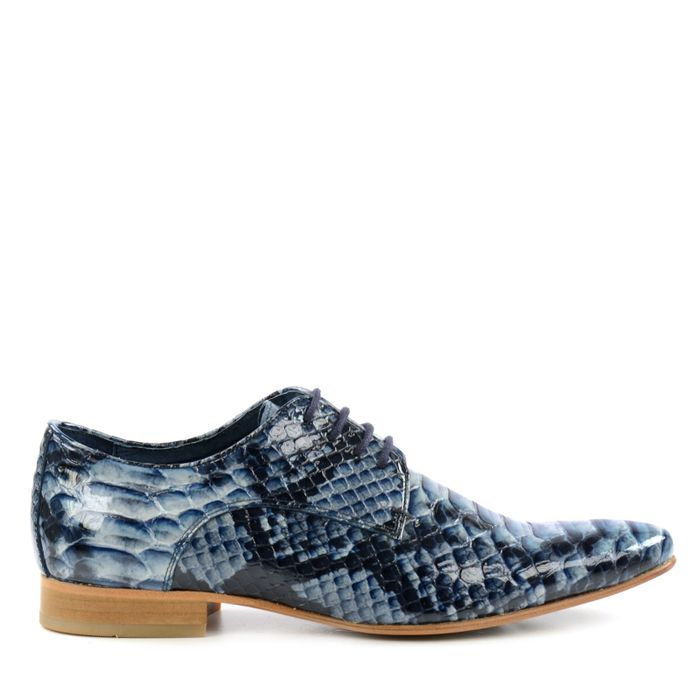 Chaussures à lacets en cuir avec imprimé croco - bleu
