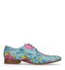 Chaussures à lacets en cuir avec imprimé fleuri - bleu