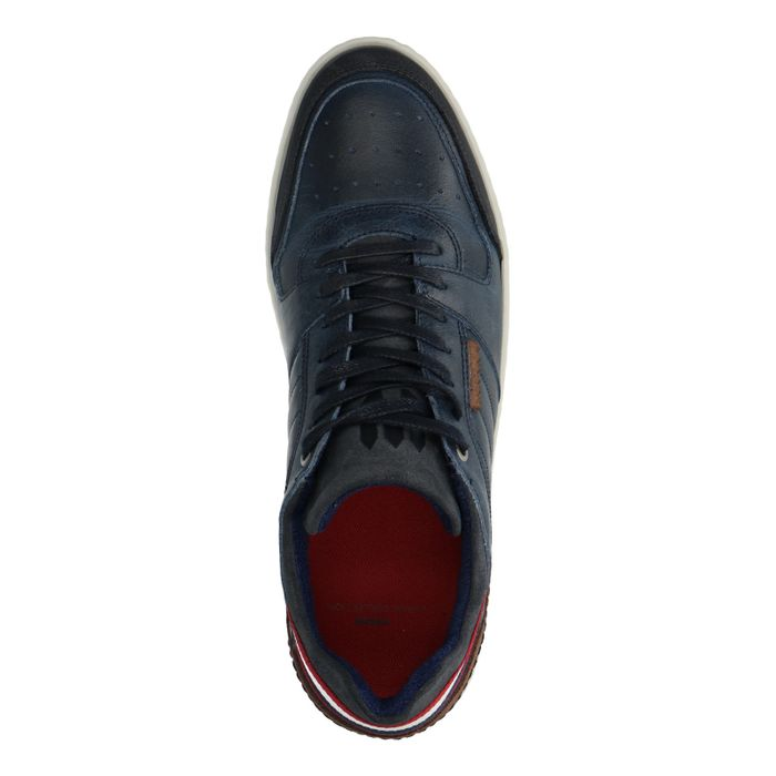 Baskets en cuir basses avec empiècement - bleu foncé