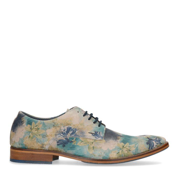 Chaussures à lacets en cuir avec imprimé fleuri