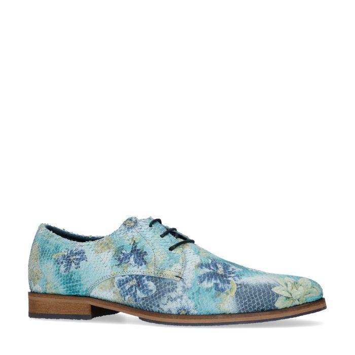 Chaussures à lacets en cuir avec imprimé fleuri et imprimé serpent