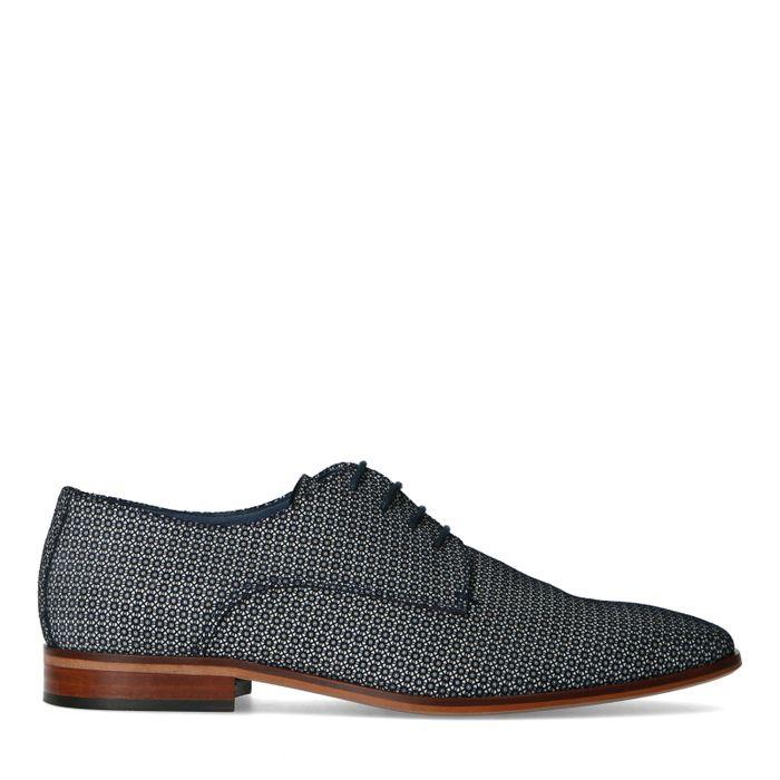 Chaussures à lacets en cuir avec motif - bleu