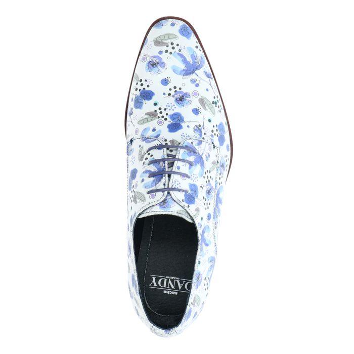 Chaussures à lacets en cuir avec imprimé - blanc