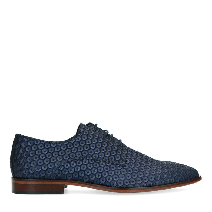 Chaussures à lacets en cuir avec motif losange - bleu-violet