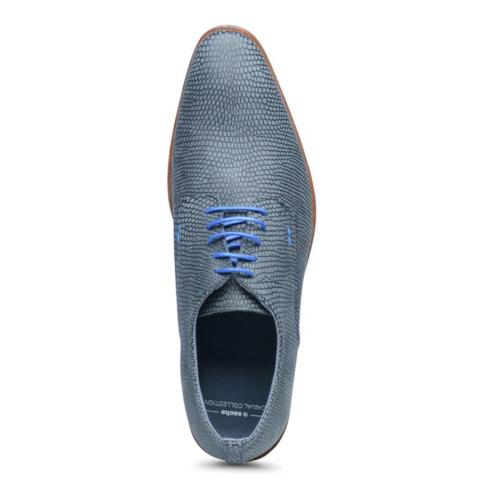 Derbies en cuir à lacets avec imprimé lézard - bleu