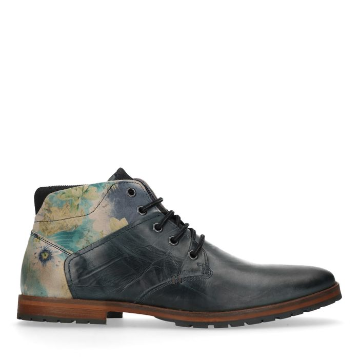 Boots à lacets en cuir avec imprimé fleuri - bleu