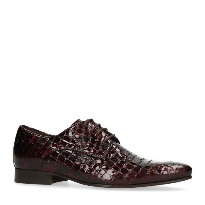 Chaussures à lacets en cuir avec imprimé serpent - rouge
